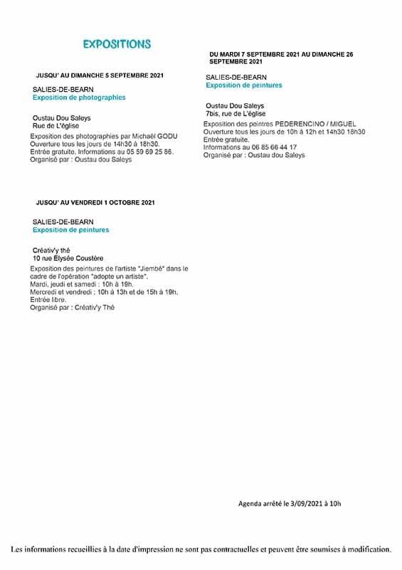 07-Salies-de-bearn-station-thermales-agenda du-4-au-12.09.2021 curistes en location apparatement meuble